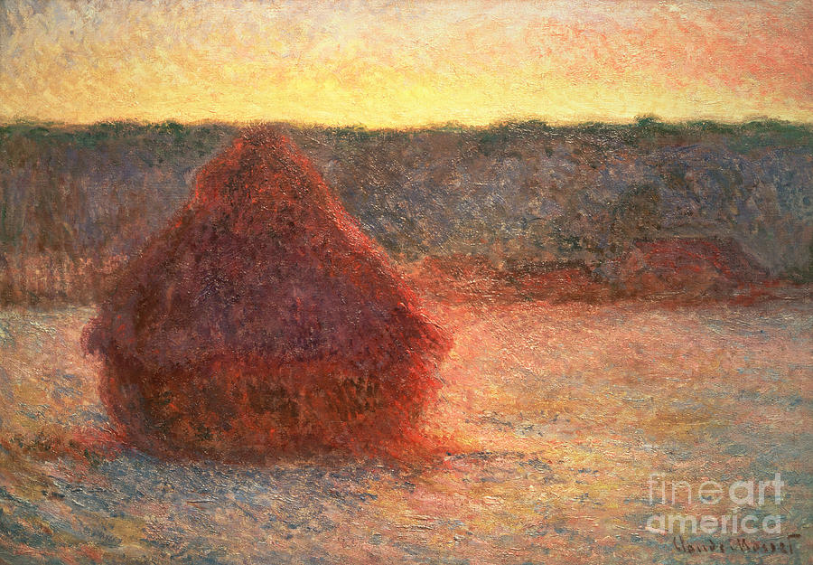 Haystacks At Sunset Painting - Haystacks At Sunset by Claude Monet