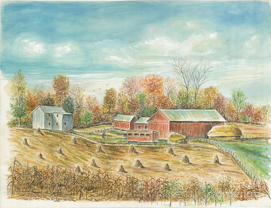 Americana Painting - Haystacks At The Farm by Samuel Showman