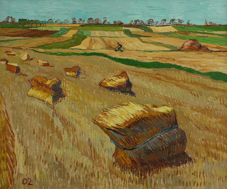 Landscape Painting - Haystacks in Moravia by Vitali Komarov