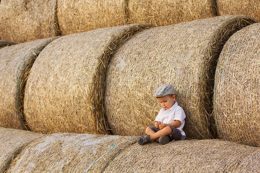 Boy Photograph - Haystacks by Tatyana Tomsickova