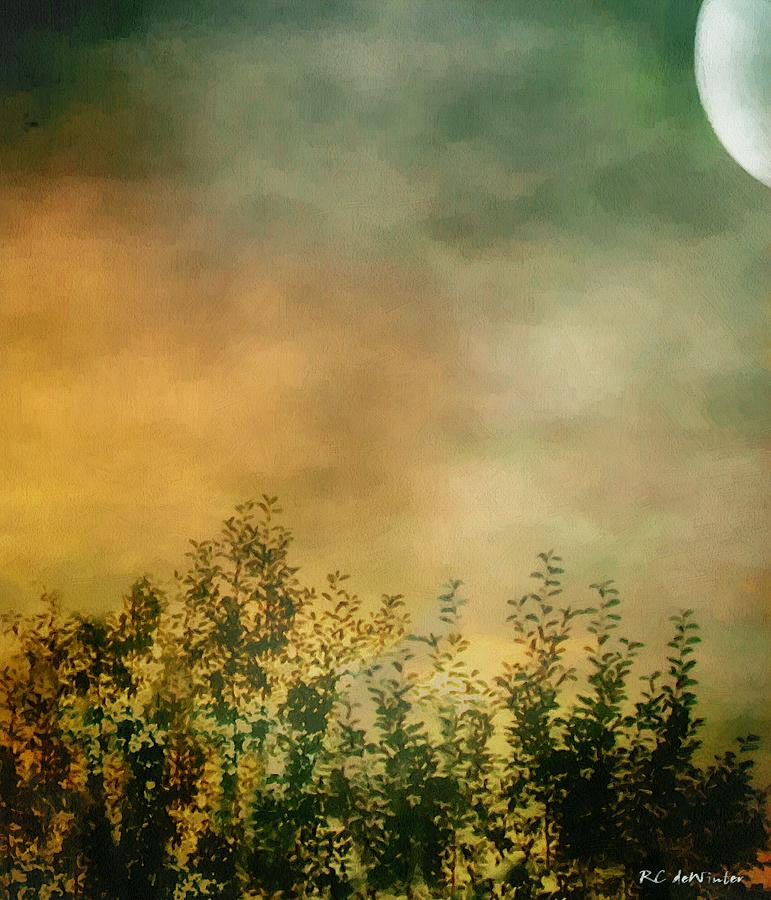 Dusk Painting - Haze On Moonlit Meadow by RC deWinter
