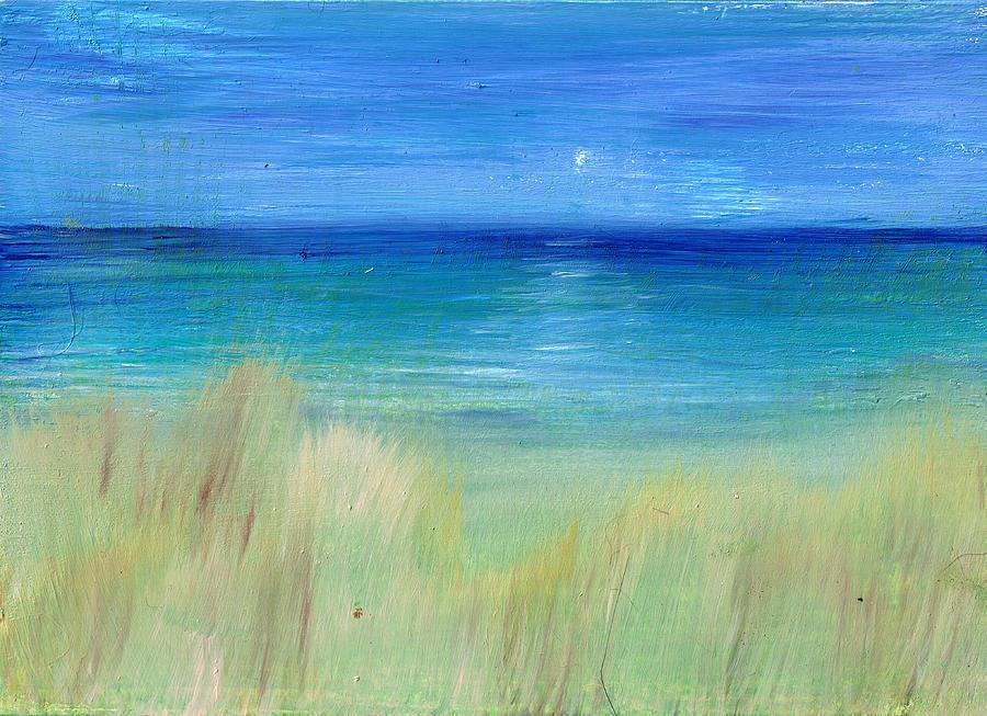 Beach Painting - Hazy Beach Mini Oil On Masonite by Regina Valluzzi