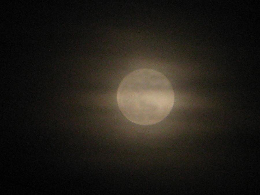 Moon Photograph - Hazy Moon by Martie DAndrea