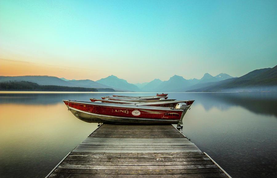 Lake Mcdonald Photograph - Hazy Reflection // Lake McDonald, Glacier National Park by Nicholas Parker