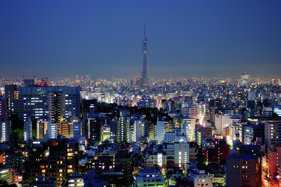 Horizontal Photograph - Hazy Skyline With Tokyo Sky Tree by Hidehiko Sakashita