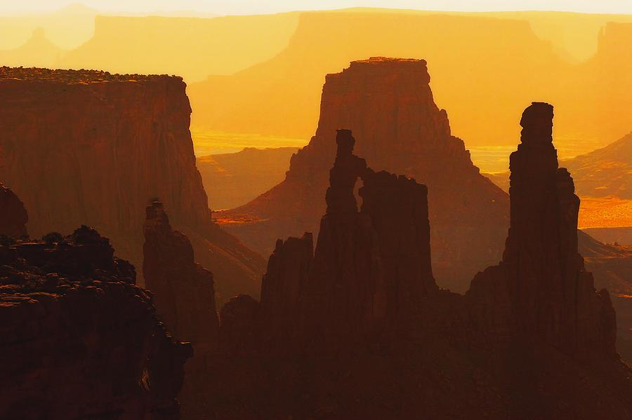 Desert Photograph - Hazy Sunrise Over Canyonlands National Park Utah by Utah Images