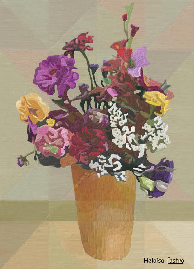 Flowers Painting - Hc0010 by Heloisa Castro