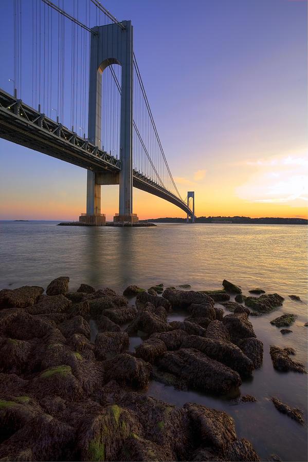 Verrazano Bridge Photograph - Hdr Verrazano Bridge Sunset by Samuel Kessler
