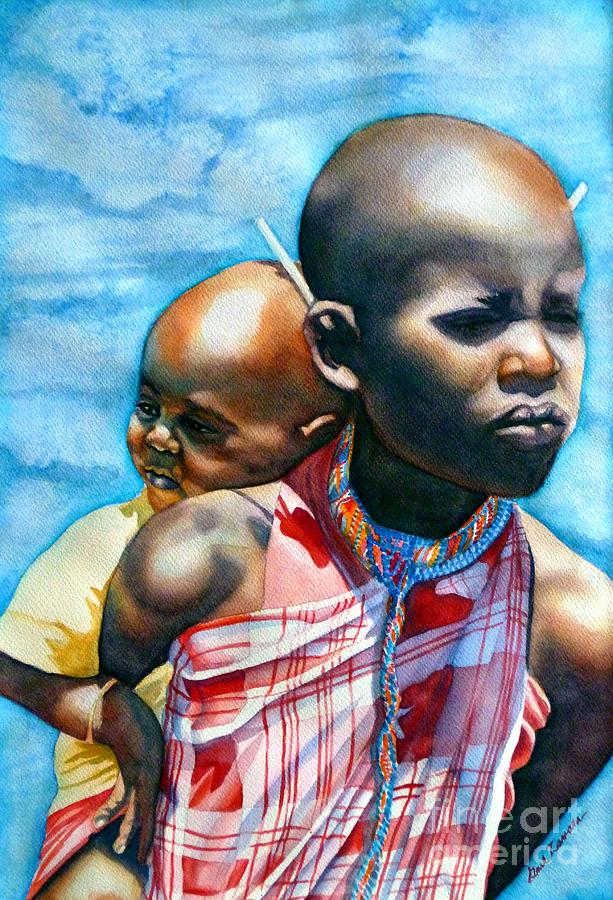 Portrait Painting - He Aint Heavy...hes My Brother by Gail Zavala