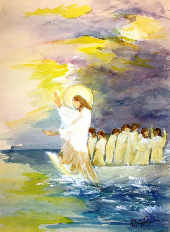 Jesus Painting - He Calms The Waters by Mary Spyridon Thompson
