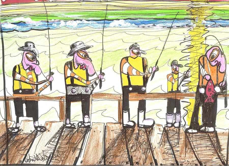 Fishing Drawing - He Got A Red by Robert Wolverton Jr