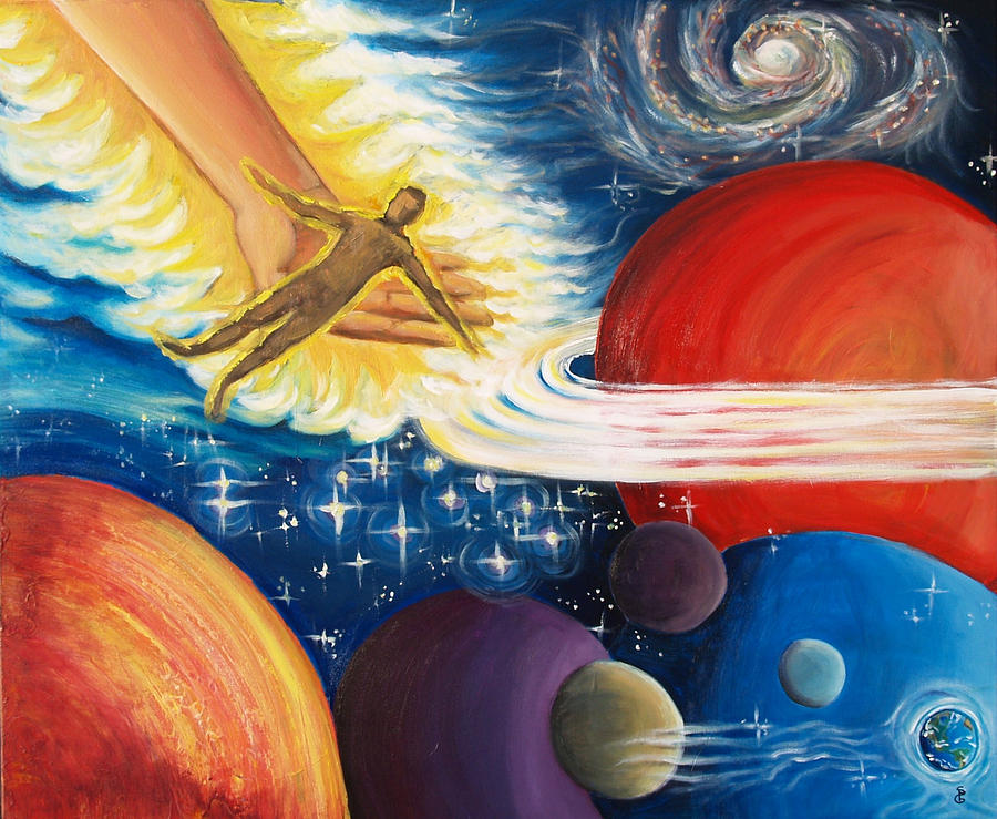 Universe Painting - He Holds You In His Hand by Sheri Gundry