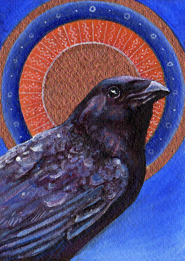 Raven Painting - He Hung The Sun In The Sky by Michelle Young