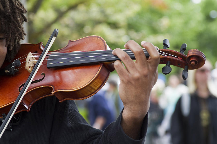 Violin Photograph - He Plays At The Market by Rebecca Cozart