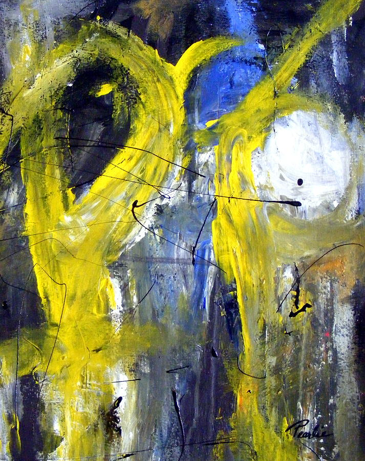 Abstract Yellow Painting - He Said She Said by Pearlie Taylor