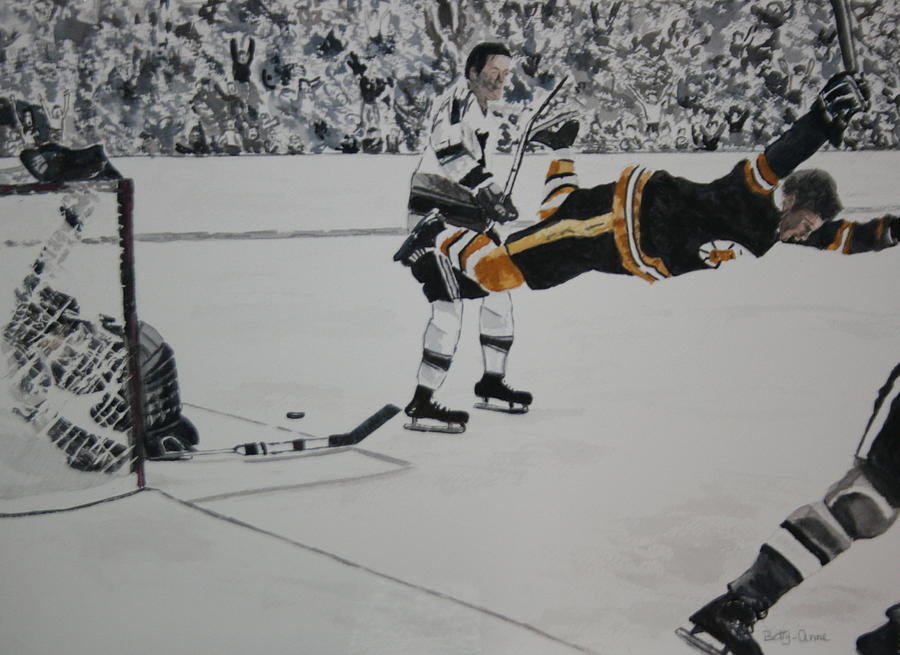 Bobby Orr Painting - He Scores by Betty-Anne McDonald