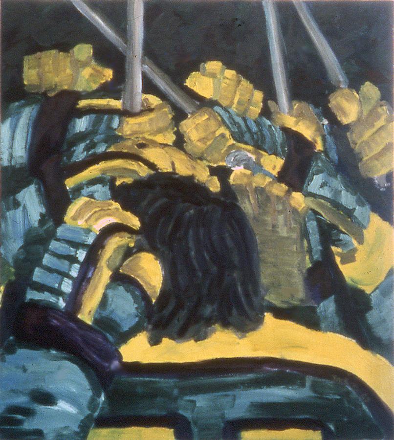 Hockey Painting - He Scores by Ken Yackel
