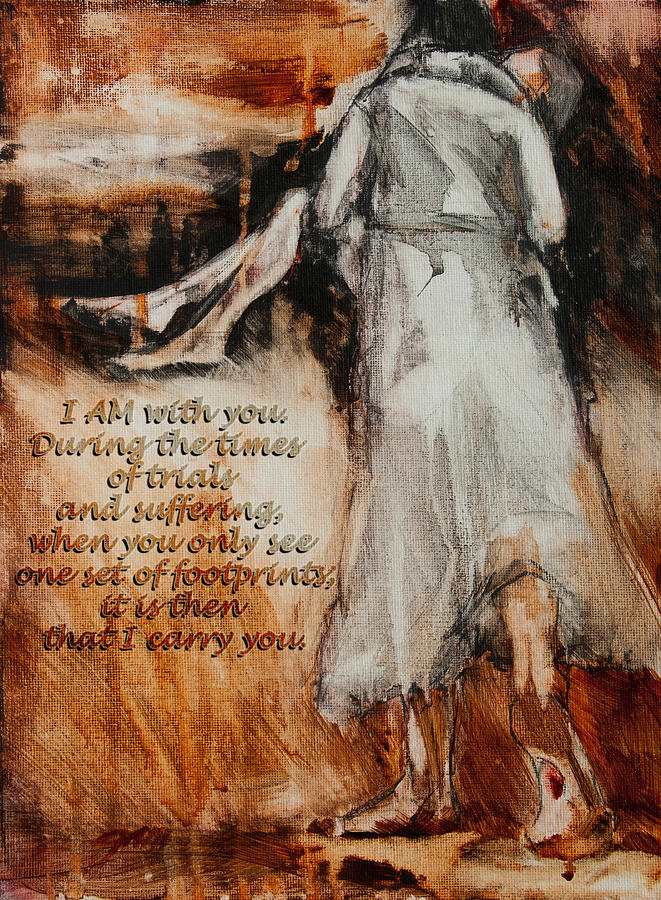 Jesus Painting - I Am With You - Footprints by Jani Freimann