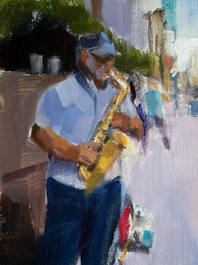 Musicians Painting - He Was Playing Real Good For Free by Merle Keller