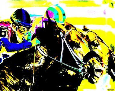 Horse Racing Digital Art - Head And Head by Gary Rogers