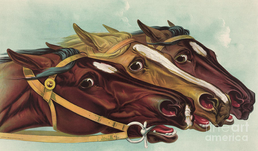 Horse Painting - Head And Head At The Winning Post by Currier and Ives
