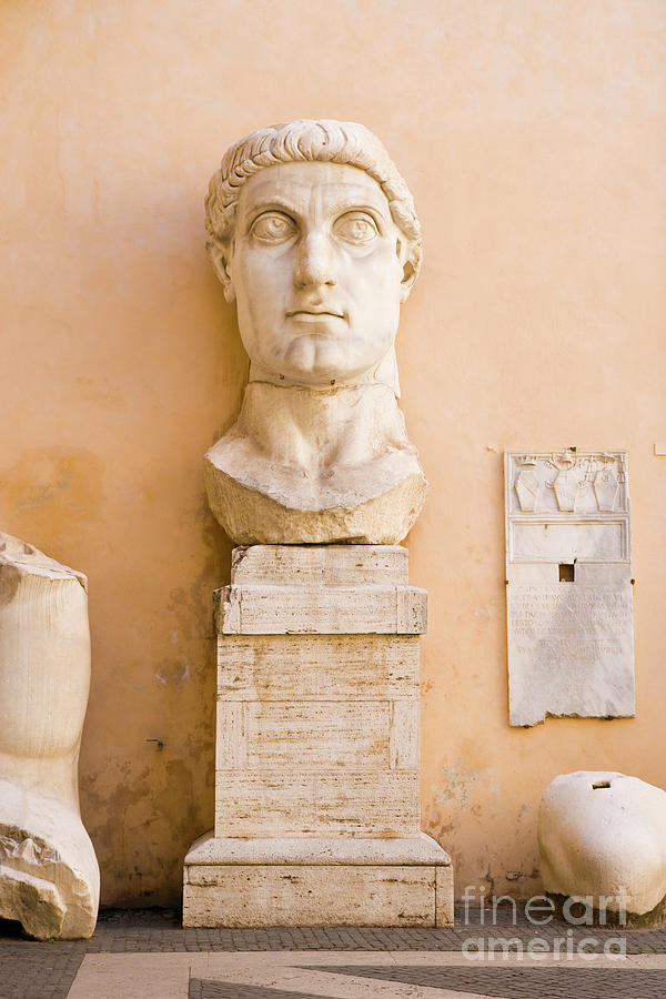 Rome Photograph - Head From The Statue Of Constantine, Rome, Italy by Damian Davies