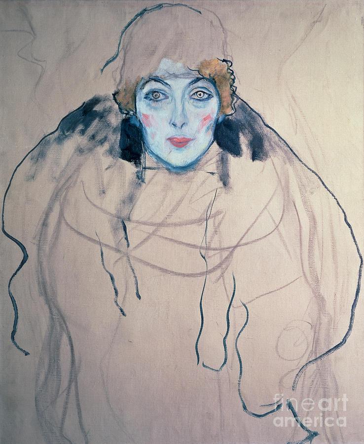 Klimt Drawing - Head Of A Woman by Gustav Klimt
