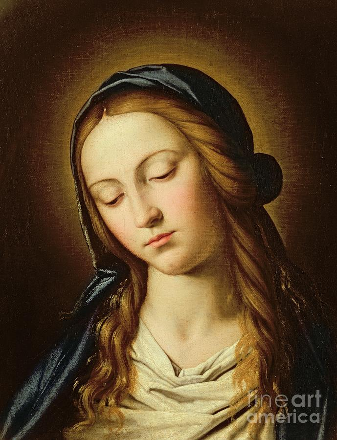 Mary Painting - Head Of The Madonna by Il Sassoferrato