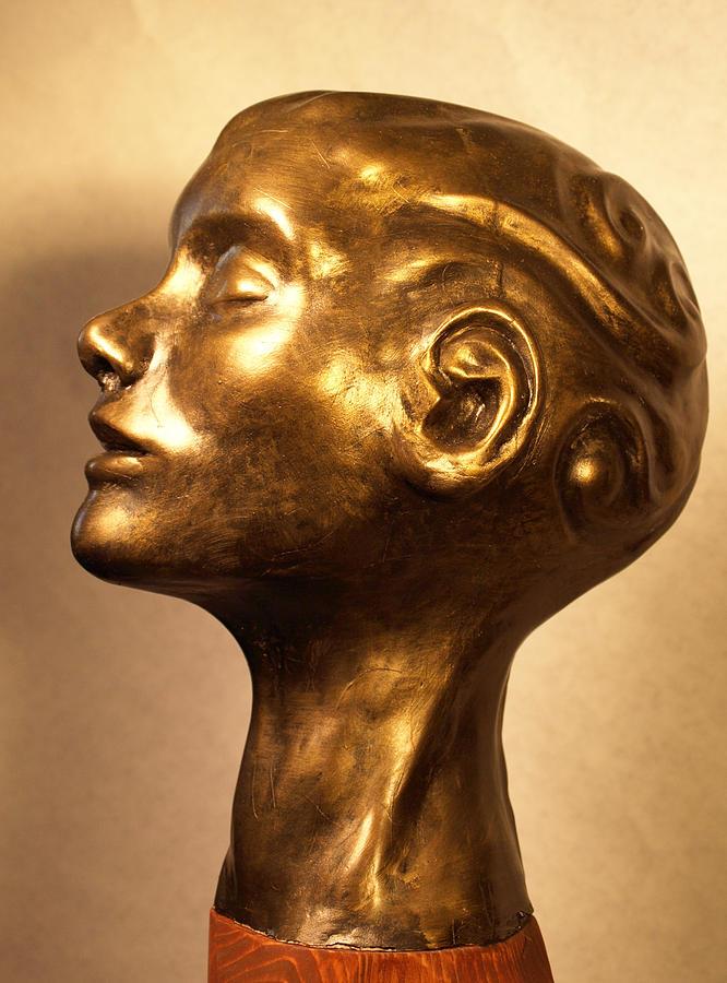 Head Sculpture - Head With Swirls View 1 by Katherine Huck Fernie Howard