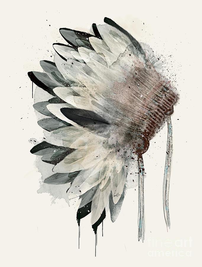 Native Headdress Painting - Headdress by Bri Buckley