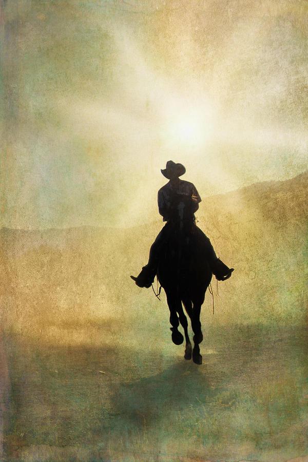 Cowboy Digital Art - Headed Home L by Ramona Murdock