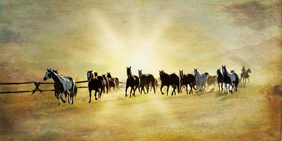 Horses Digital Art - Headed Home Ll by Ramona Murdock