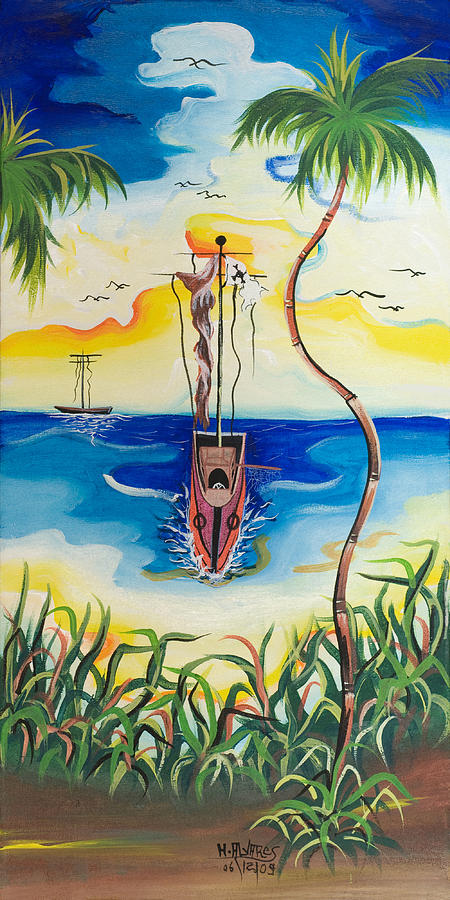 Herold Painting - Headed To Shore by Herold Alvares