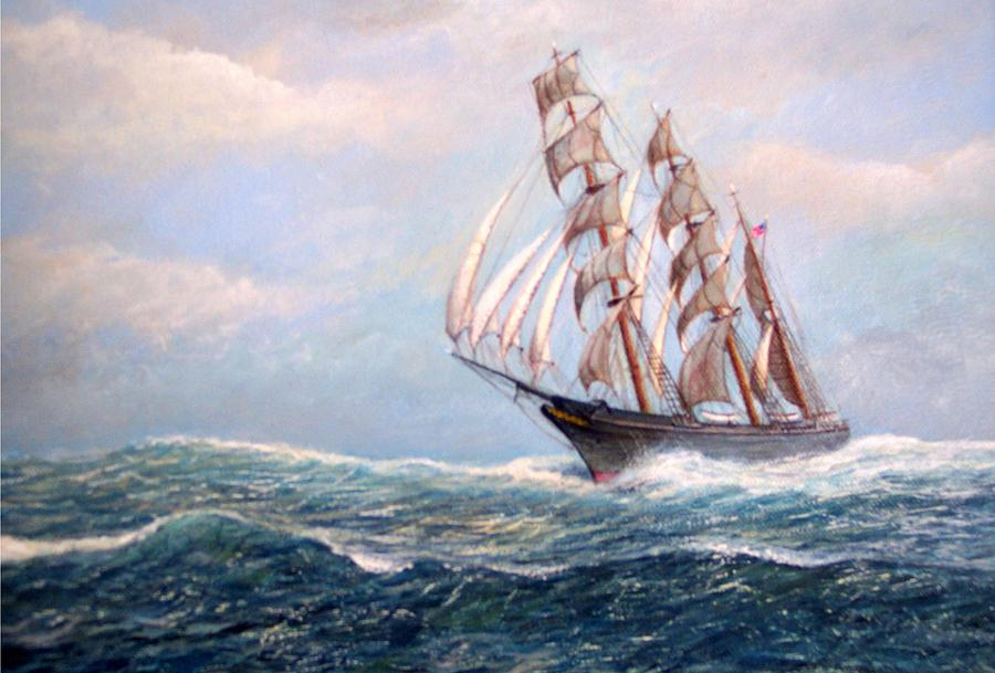 Square Rigger Painting - Headin Home by William H RaVell III