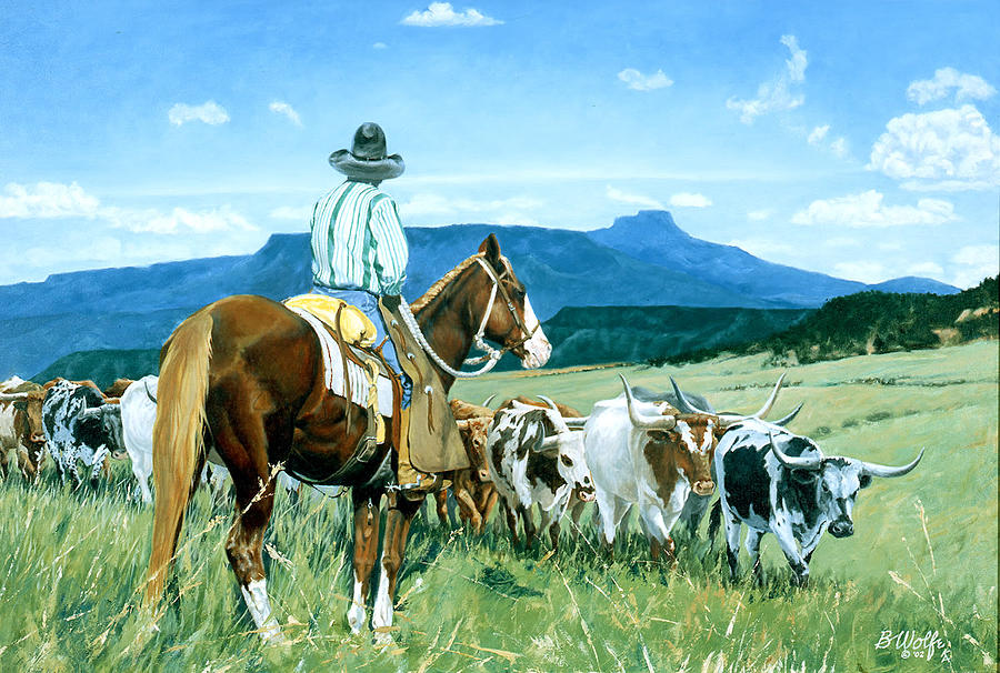 Longhorns Painting - Headin North by Bassel Wolfe