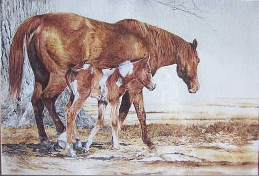 Horse Painting - Headin Out by Judith Angell Meyer