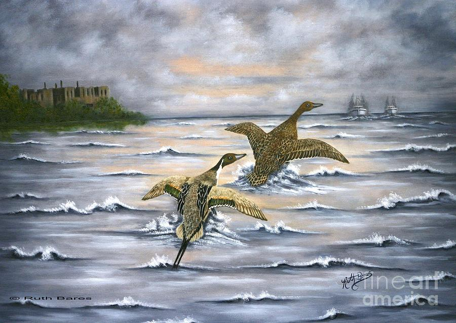 Waterfowl Painting - Heading For Cover by Ruth Bares