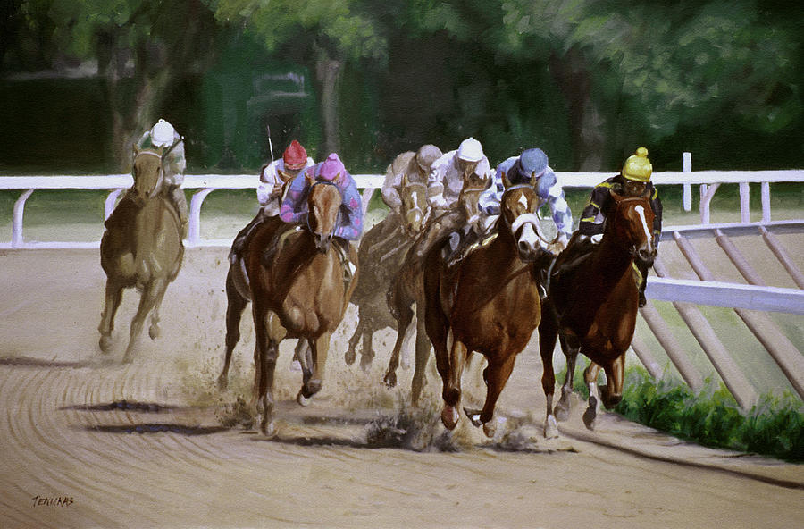 Horse Painting - Heading For Home by Linda Tenukas