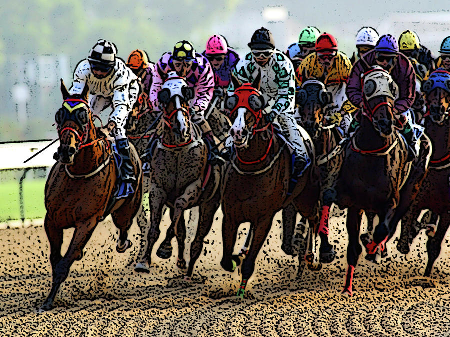 Horses Digital Art - Heading For Thefinish Line by Ben Freeman