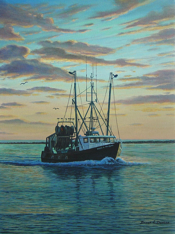 Boat Painting - Heading In by Bruce Dumas