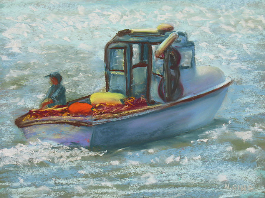 Fishing Painting - Heading Out by Nancy Ging