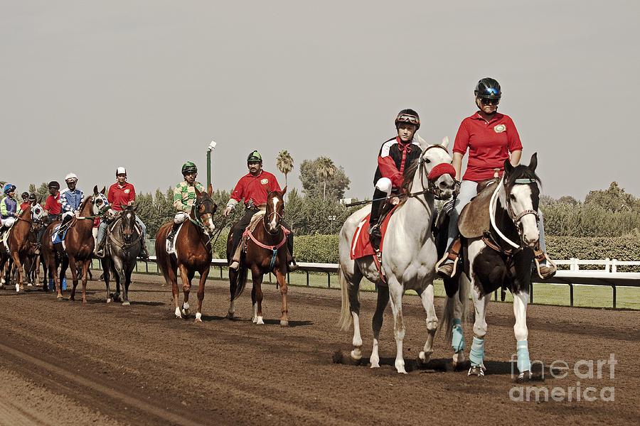Equestrian Photograph - Heading Towards The Starting Gates by Mark Hendrickson