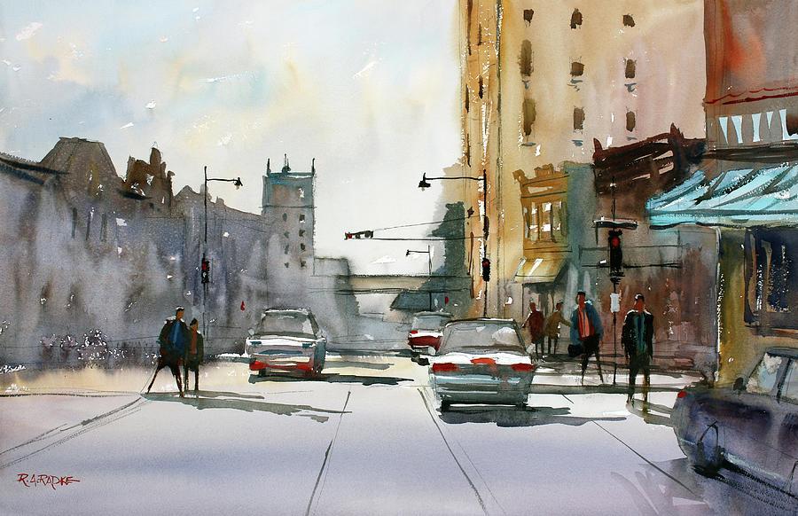 Street Scene Painting - Heading West on College Avenue - Appleton by Ryan Radke