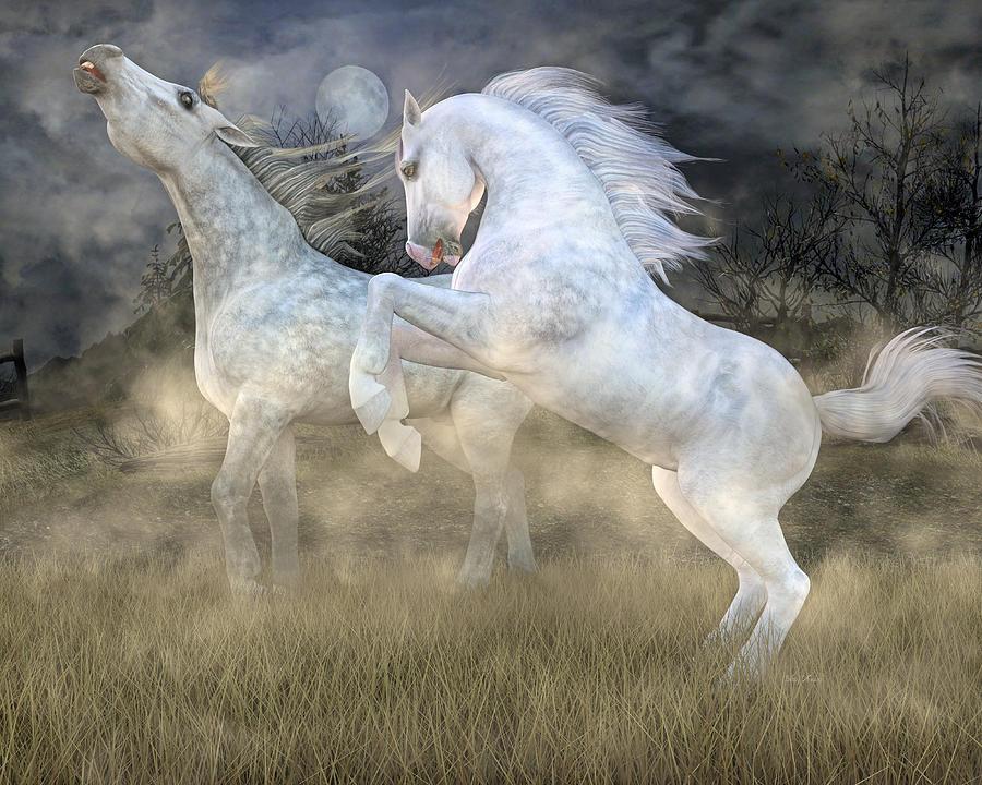 Horse Digital Art -  Headless Horseman Haunting On The Hill by Betsy Knapp