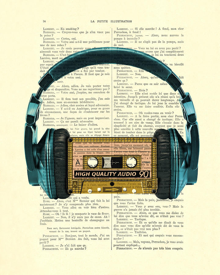 Headphone Digital Art - Blue Headphone And Yellow Cassette Collage Print by Madame Memento