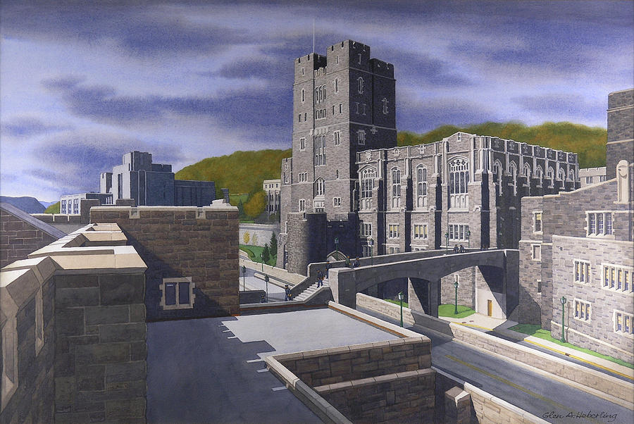West Point Painting - Headquarters Tower West Point by Glen Heberling