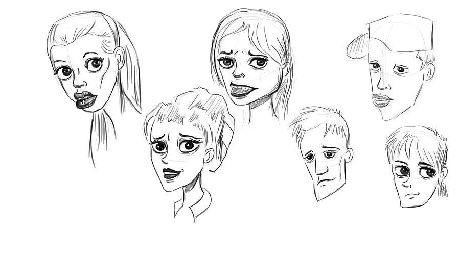 Drawing Painting - Heads by Bogdan Floridana Oana