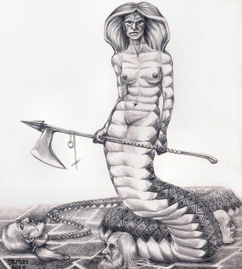 Naga Drawing - Heads I Win by Dan Mills