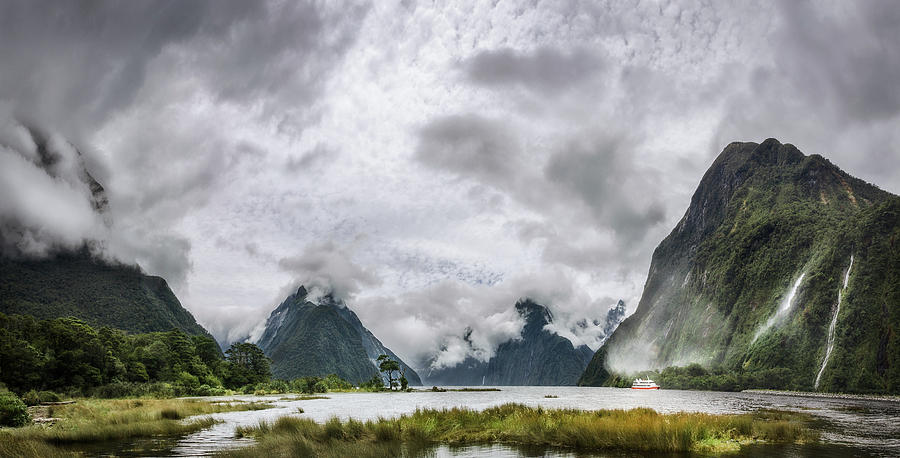 Fiordland National Park Photograph - Heads In The Clouds Panorama At Milford Sound by Daniela Constantinescu