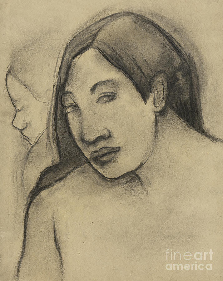 Gauguin Pastel - Heads Of Tahitian Women, Frontal And Profile Views by Paul Gauguin
